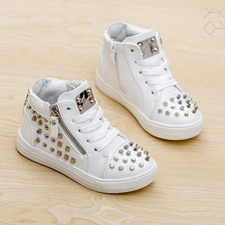 Find More Sneakers Information about 2015 fashion quality kid shoes  children stud rivet heel zipper casual