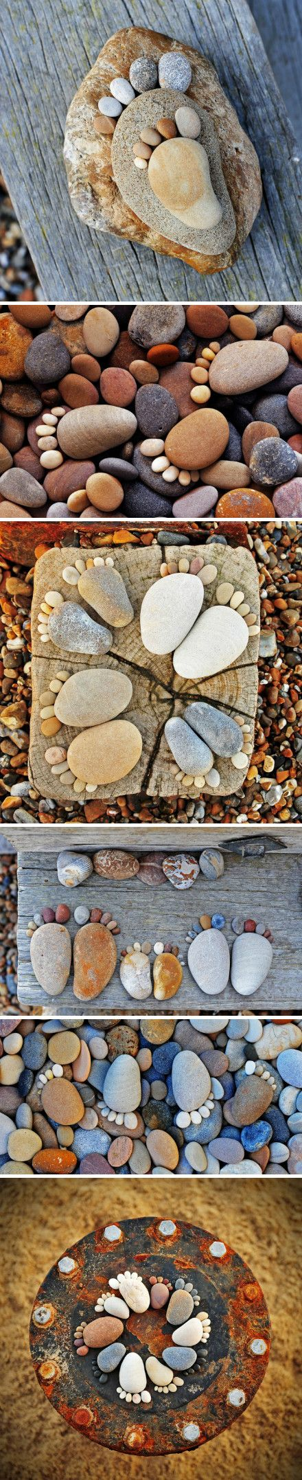You can have the children trace their feet with chalk and then use stones and pebbles.