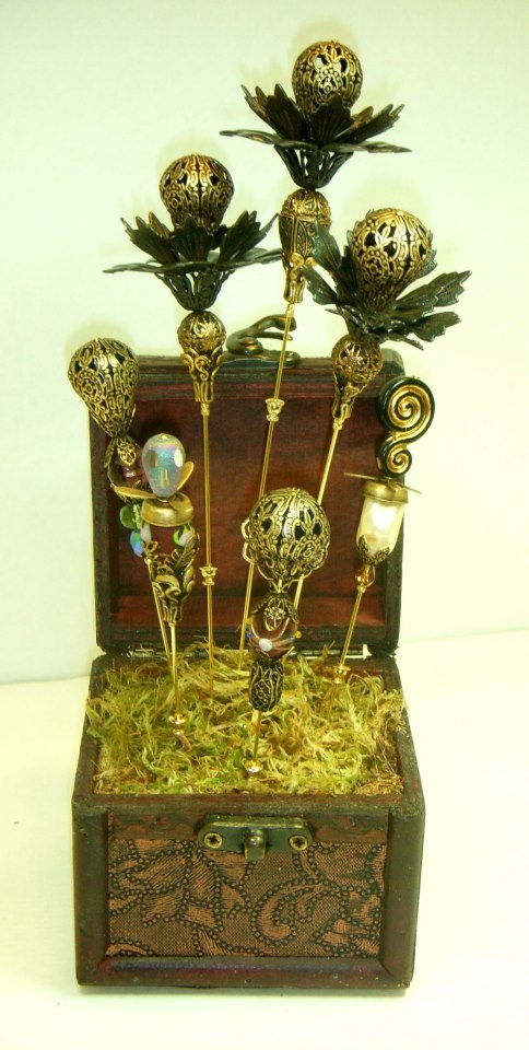 Already in my shop, LOL   Hatpin Box Garden, by Brenda Sue Lansdowne of B'sue Boutiques.   Findings from bsueboutiques.com