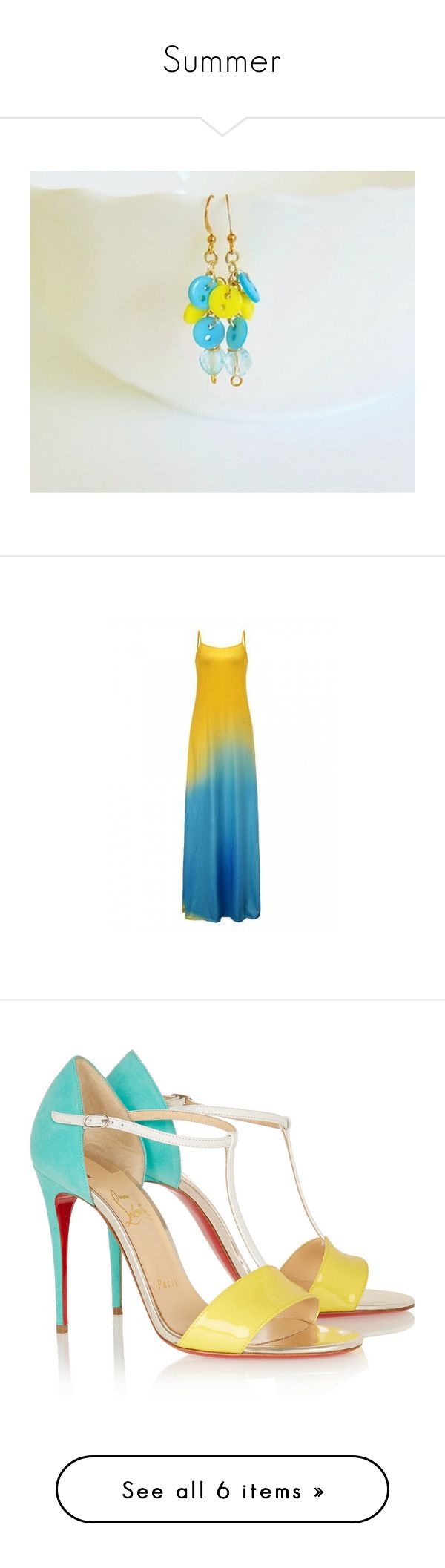 """Summer"" by styledonna on Polyvore featuring jewelry, earrings, dresses, maxi dresses, yellow, evening dresses, maxi cocktail dress, blue cocktail dress, yellow summer dress i yellow cocktail dress"