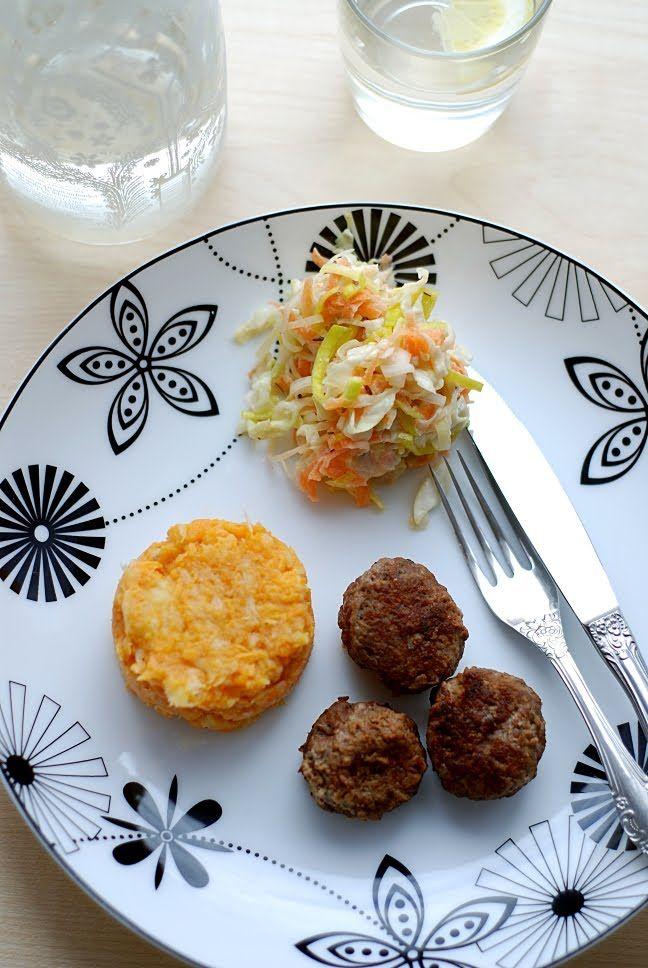 Trufla: Słodkie ziemniaki, puree. Pulpeciki. I surówka.