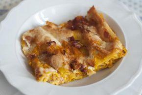 Lasagne cremose con zucca, gorgonzola e speck