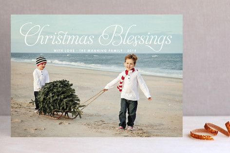 "Christmas Blessing Christmas Photo Cards by toast & laurel at minted.com @bellavita22 this is my idea for the christmas card.  ""winter"" on the beach kinda idea but using the naples pier in the background."