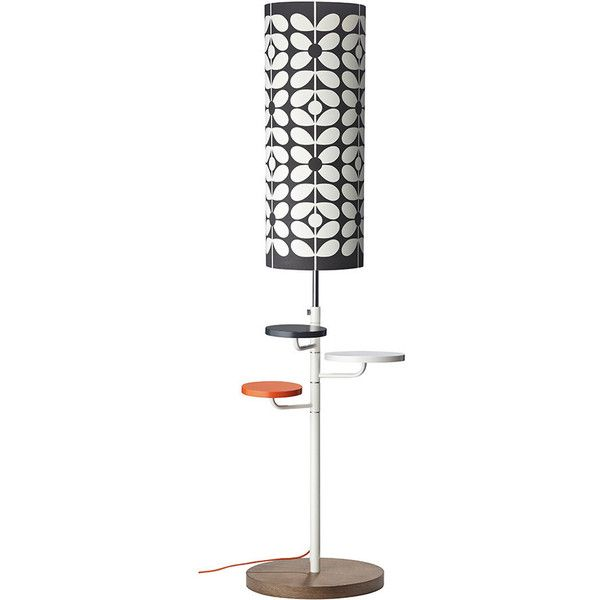 Orla Kiely Cylindrical Floor Lamp - 60's Stem Liquorice Cream (955 BRL) ❤ liked on Polyvore featuring home, lighting, floor lamps, black, warm white lights, cream floor lamp, black lamp, parchment shades and alabaster shades
