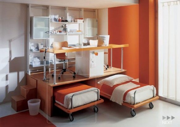 Bedroom White Orange Wall Color With White Wall Mounted Bookshelf Also Built In Orange Plywood Study Desk And Orange Grey Twin Single Bed Design Besides White Transparent Window Curtain   Snazzy Kids Bedroom Designs