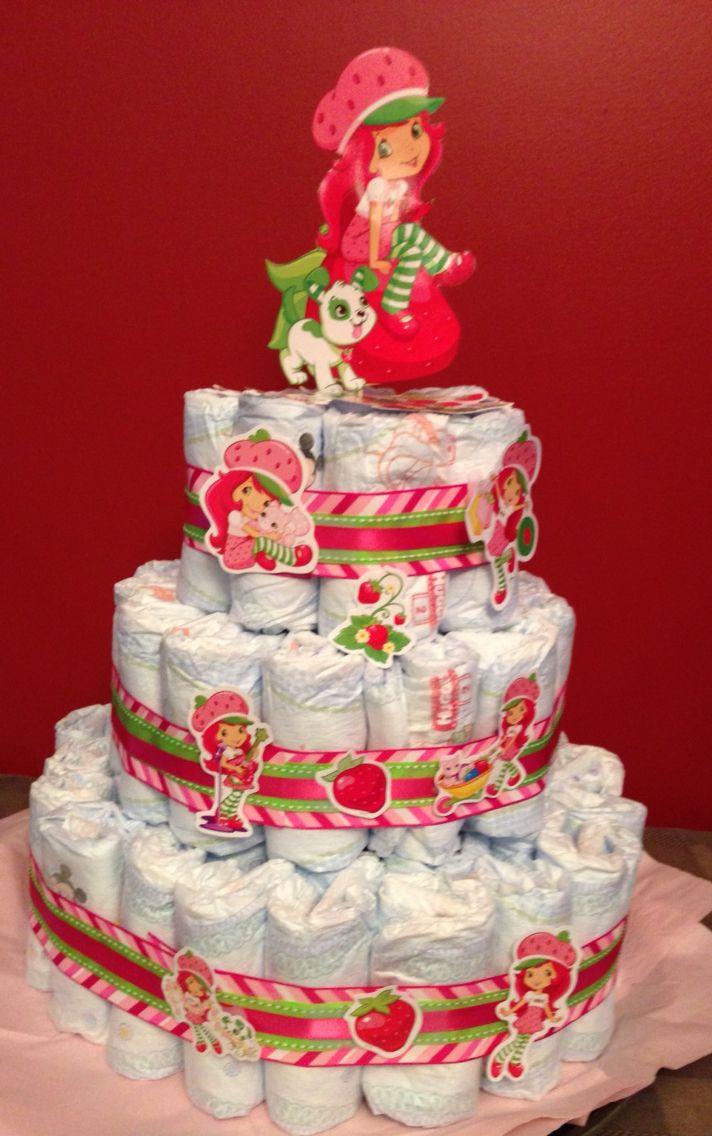 Strawberry shortcake diaper cake for girl baby shower