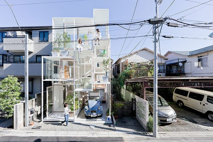 Japanese young couple lives in unique house which is fully see-through