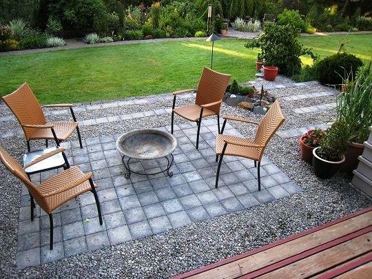 Small gravel and paver patio tuinontwerp pinterest Paver patio ideas