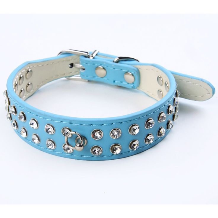 2 Rows Rhinestone Bling Dog Collar Perro PU Leather Pet Collar Crystal Puppy Animal Dog Accessories For Small Dogs Cat Leash