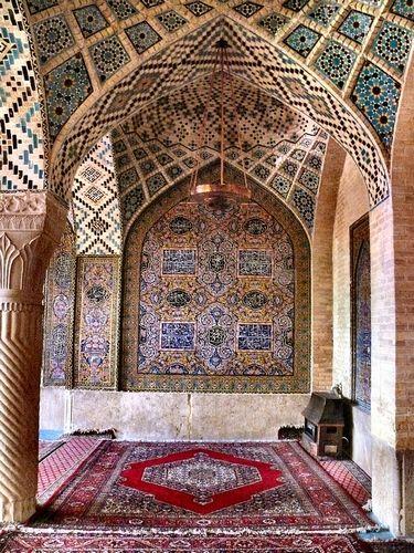 Praying room of the Nasr Ol Molk Mosque (Qajar era) at Shiraz, Fars province, Iran