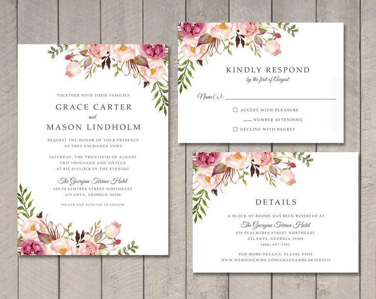 Floral Wedding Invitation, RSVP, Details Card (Printable) by Vintage Sweet by vintagesweetdesign on Etsy https://www.etsy.com/listing/237495641/floral-wedding-invitation-rsvp-details