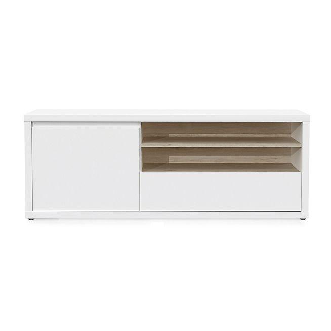 Geneve Meuble Tv 1 Porte Et 1 Tiroir Coloris Blanc Laque Et Chene Meuble Tele Design Mobilier De Salon Meuble Tv