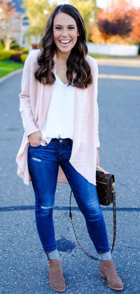 #preppy #fashion /  Pink Cardigan // White V-neck Top // Skinny Jeans // Camel Booties