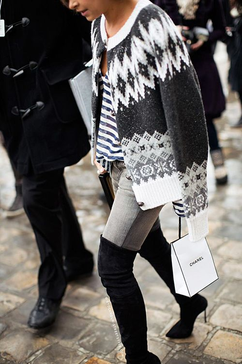 Miroslava Duma, Fair Isle cardigan, stripes, Chanel, black over-the-knee boots.