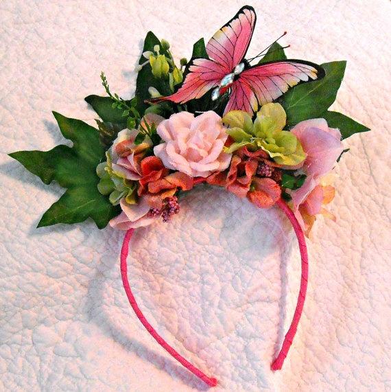 Fairy costume Accessory - Butterfly Headband - Flower girl headpiece. $27.00, via Etsy.