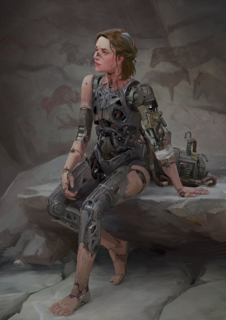 Sitting Robot by TheMichaelMacRae female cyborg fighter soldier nude armor clothes clothing fashion player character npc | Create your own roleplaying game material w/ RPG Bard: www.rpgbard.com | Writing inspiration for Dungeons and Dragons DND D&D Pathfinder PFRPG Warhammer 40k Star Wars Shadowrun Call of Cthulhu Lord of the Rings LoTR + d20 fantasy science fiction scifi horror design | Not Trusty Sword art: click artwork for source
