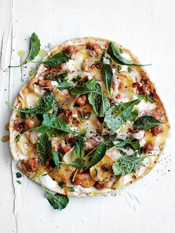 Smoky eggplant, lamb sausage and potato pizza | Donna Hay