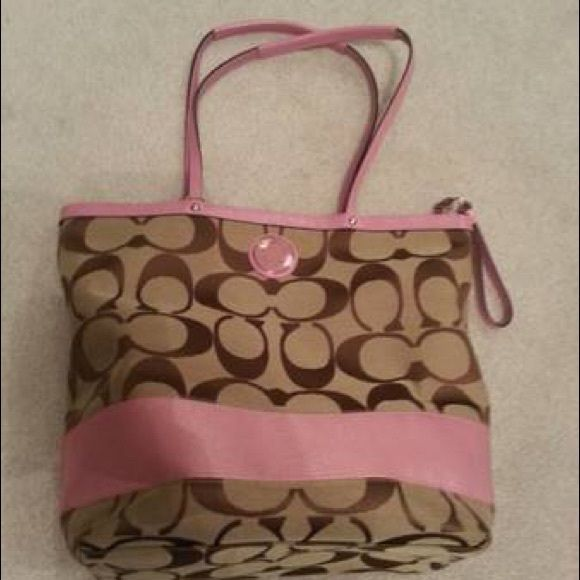 Pink coach tote Authentic coach totes with zipper. Extra large interior. Coach Bags Totes