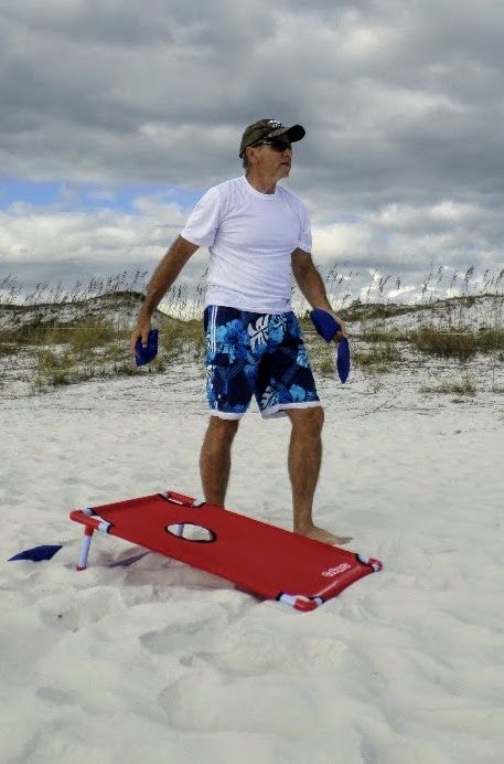 This lightweight, portable corn hole games is one of many beach games for kids that come with us on our family beach vacations.