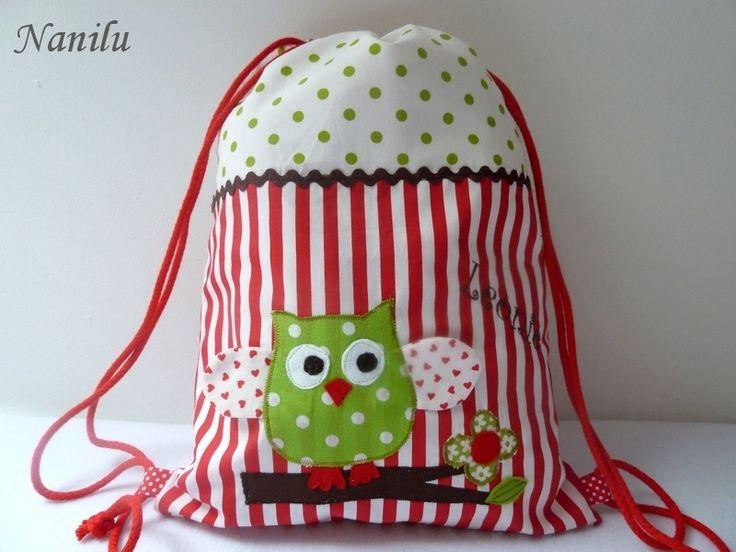 Ein wunderschöner Turnbeutel  passend zu der Kindergartentasche in meinem Shop…