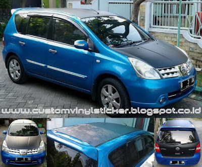 Nissan Livina Blue - Black Mate Roof, Hood, Rear Door Wrapp