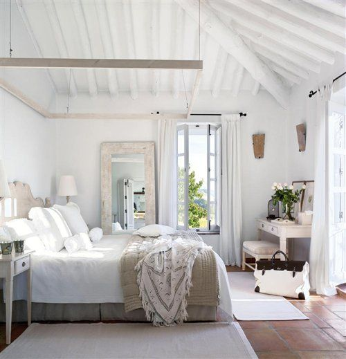 I Love the fresh white look of this room.