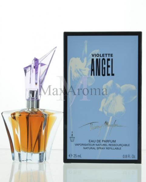 Thierry Mugler Violette Angel  There are violet leaves and sugar in the top notes, whereas the heart is composed of violets and woody notes. The base contains patchouli and vanilla.    Violet Angel by Thierry Mugler EDP 25ml |MaxAroma.com
