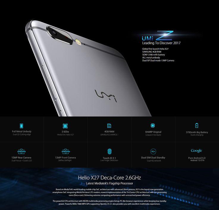 UMI Z Helio X27 MTK6797X Deca Core Phone w/ 4GB RAM 32GB ROM - Grey - Free Shipping - DealExtreme
