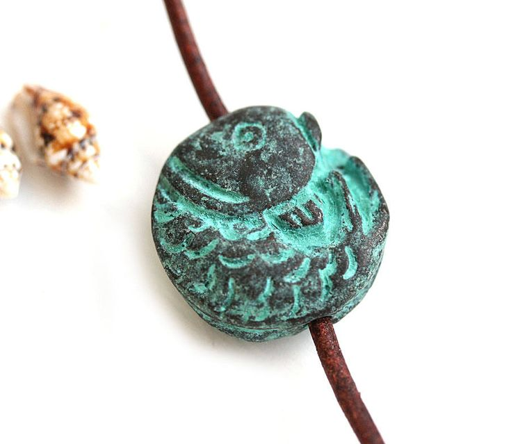 Fish heavy round bead, Green Verdigris patina on copper, Fish pendant bead, Greek metal casting - F557 by MayaHoney on Etsy