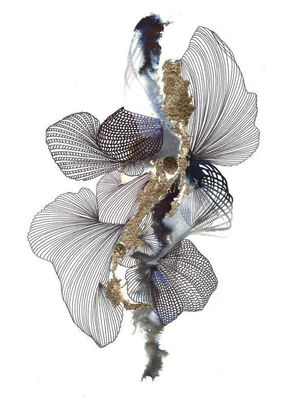 Abstrakte Kunst Fine Art Giclee Print, abstrakte Kunst, schwarz und weiß, Gold, Innenarchitektur, Inneneinrichtungen