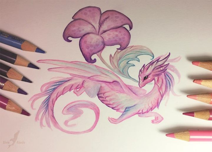 Pink flower dragoness by Alvia Alcedo