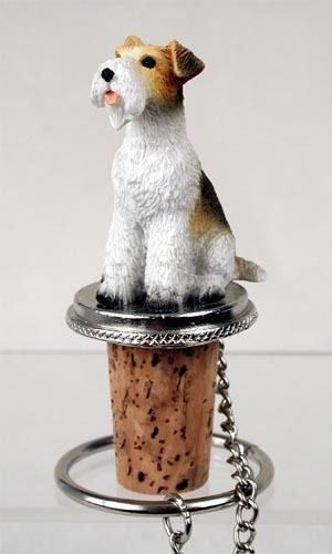 Realistic Elegant Hand Painted Wire Fox Terrier Figurine on Wine Bottle…