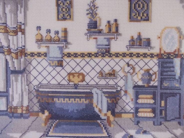 COSAS DE CARI: Cuarto de baño antiguo en punto de cruz
