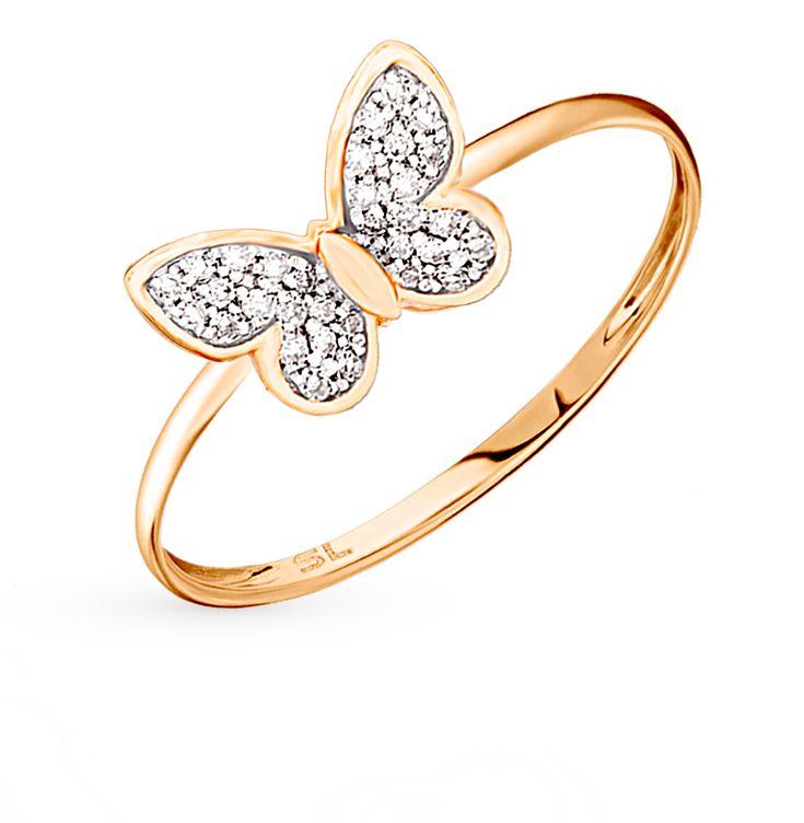 Золотое кольцо с бриллиантами: красное и розовое золото 585 пробы, бриллиант — купить в интернет-магазине SUNLIGHT, фото, артикул 59702