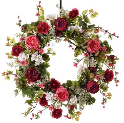 Pink and Burgundy Cabbage Rose Wreath