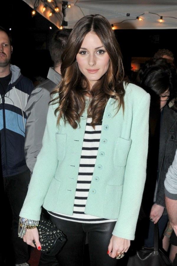 i love her vintage chanel mint jacket.