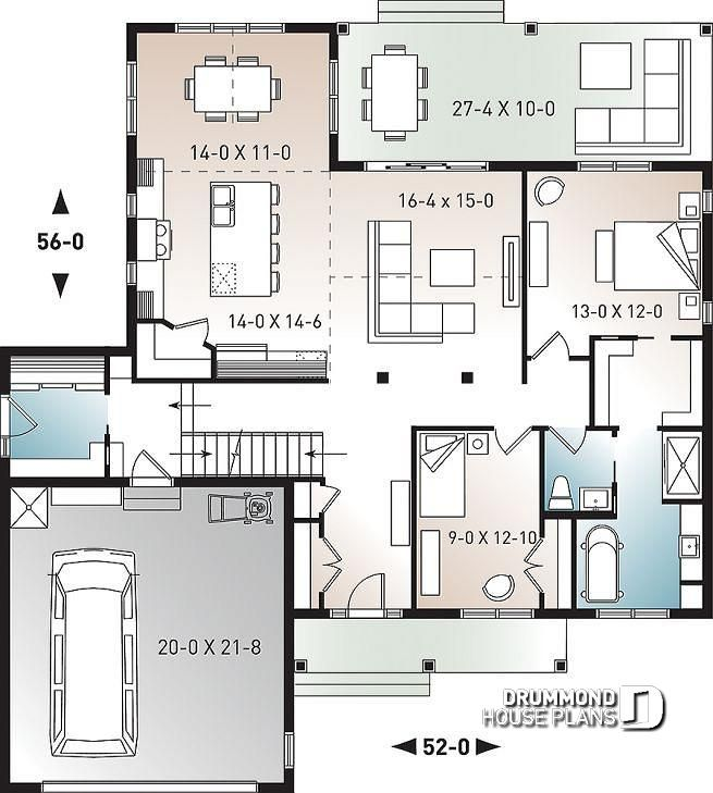 1st level One-storey ranch house plan with 2-car garage ... on large farmhouse plans with kitchen, large ranch house floor plan, large ranch style homes,