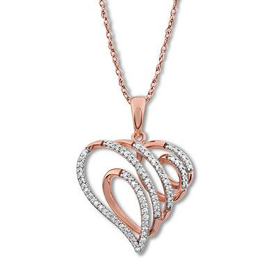 Swirling Heart Necklace 1 4 Ct Tw Diamonds 10k Rose Gold Jared Diamond Outline Heart Necklace Jared The Galleria Of Jewelry