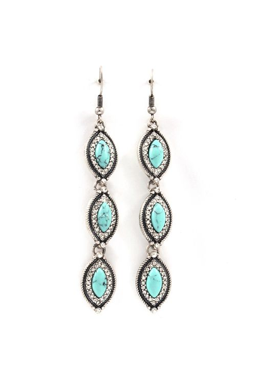 Turquoise Marquise Earrings in Silver.