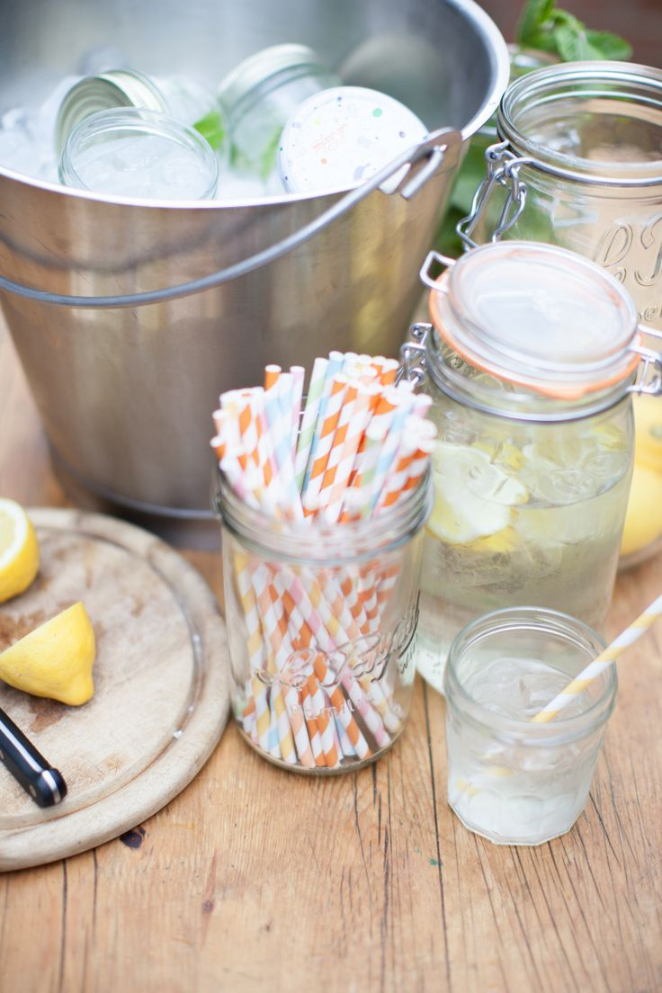 Homemade Lemonade stand  Le parfait super jars as carafes, le parfait jam jars as glasses and another Super to hold the straws