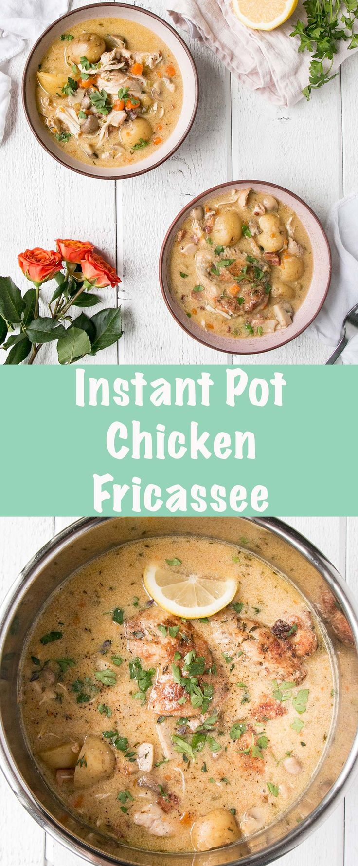 Instant Pot Chicken Fricassee is a classic French Chicken Stew made easy and quick thanks to the Instant Pot! #chicken #stew #instantpot