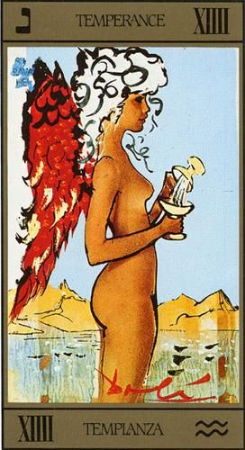 Dalí Tarot. This is Temperance, and It is the card of Aquarius, wich is my sign. Apart from that, I have always loved what represents and how Dalí painted it, so simply but powerfull at the same time... search it!