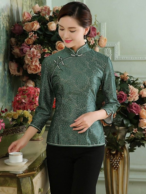 Floral Lace Qipao Top / Tang Shirt with Long Sleeves