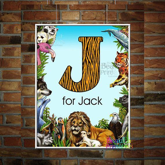 Letter Monogram Personalized Print  Nature Zoo Animals Print