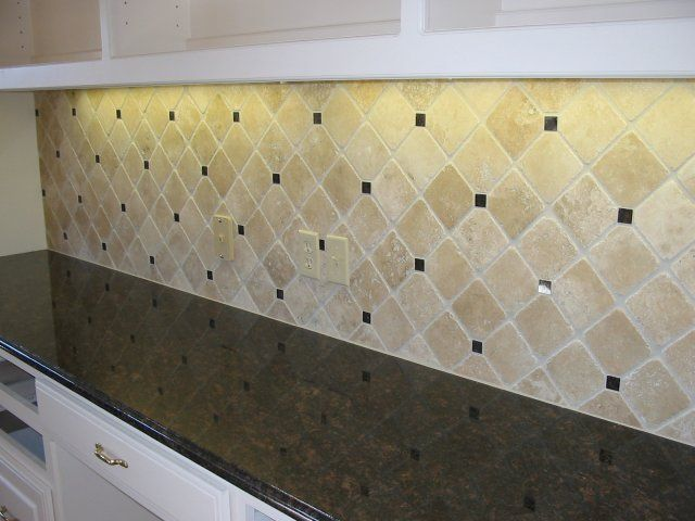 Tumbled marble backsplash 4x4 crema tumbled marble with for 4x4 kitchen ideas