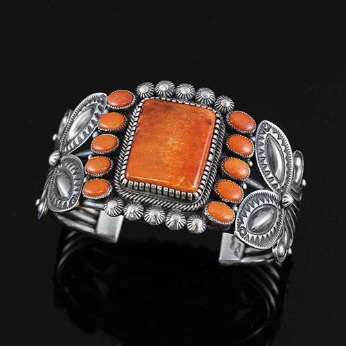 Orange Spiny Oyster Bracelet by Kirk Smith   Native American Jewelry   Navajo   wrightsgallery.com