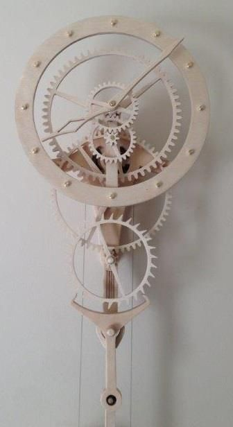 "Wooden clock ""Zentira"" from Paul Layton. Designed by Christopher Blasius. Plans available at holzmechanik.de"