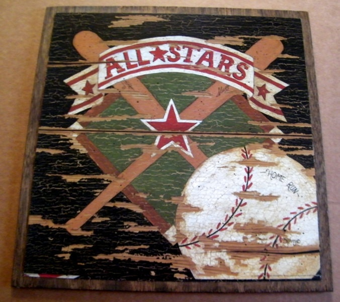 BASEBALL Bat Ball Sports Vintage Art Wall Room Sign All Stars Retro Primitive Country Decor