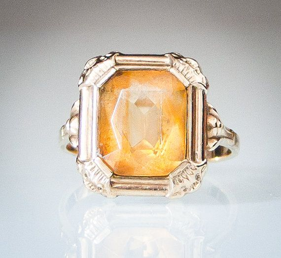 Vintage Retro 8k Yellow Gold and Citrine Ring FREE