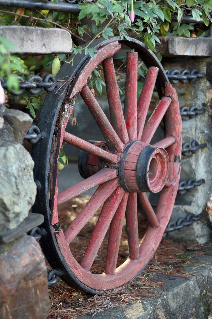 Old Wooden Red Wagon Wheel   Garden Art